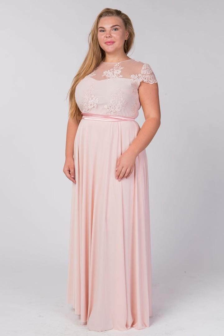 Красивое женское платье в пол верх французское кружево, атласный пояс, короткий рукав 50-52, 54-56р