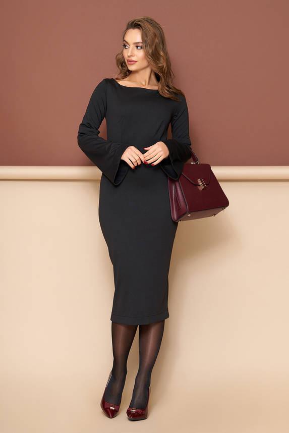 Трикотажное платье футляр черное, фото 2