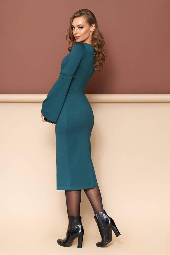 Трикотажное платье футляр зеленое, фото 2