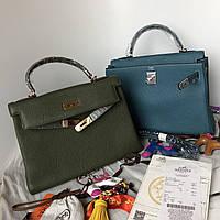 Женская сумка Гермес Келли 32 см оливка (реплика), фото 1