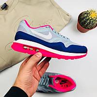 """Женские кроссовки Nike Air Max 1 Lunarlon """"Pink/Gray"""" (копия)"""