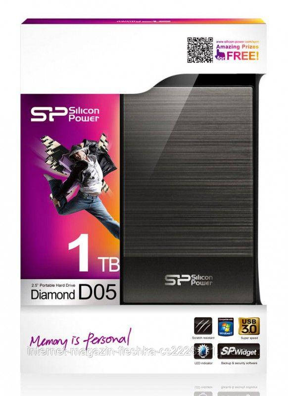 Внешний жесткий диск  PHD External 2.5'' SiliconPower USB 3.0 Diamond D05 1TB Iron Gray