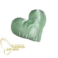 Подушка декоративная Сердце, атлас, нежно-салатовый