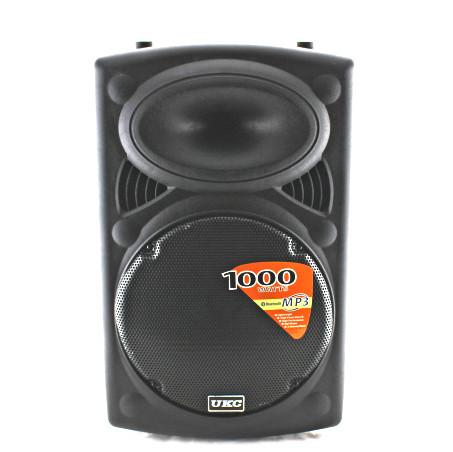"""Акустична система акумуляторна колонка 12"""" 2 радіо мікрофона USB FM UKC BT12A 1000 Вт"""