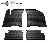 Резиновые коврики Stingray Стингрей Шевроле Авео (Т200) 2002-2008 Комплект из 4-х ковриков Черный в салон