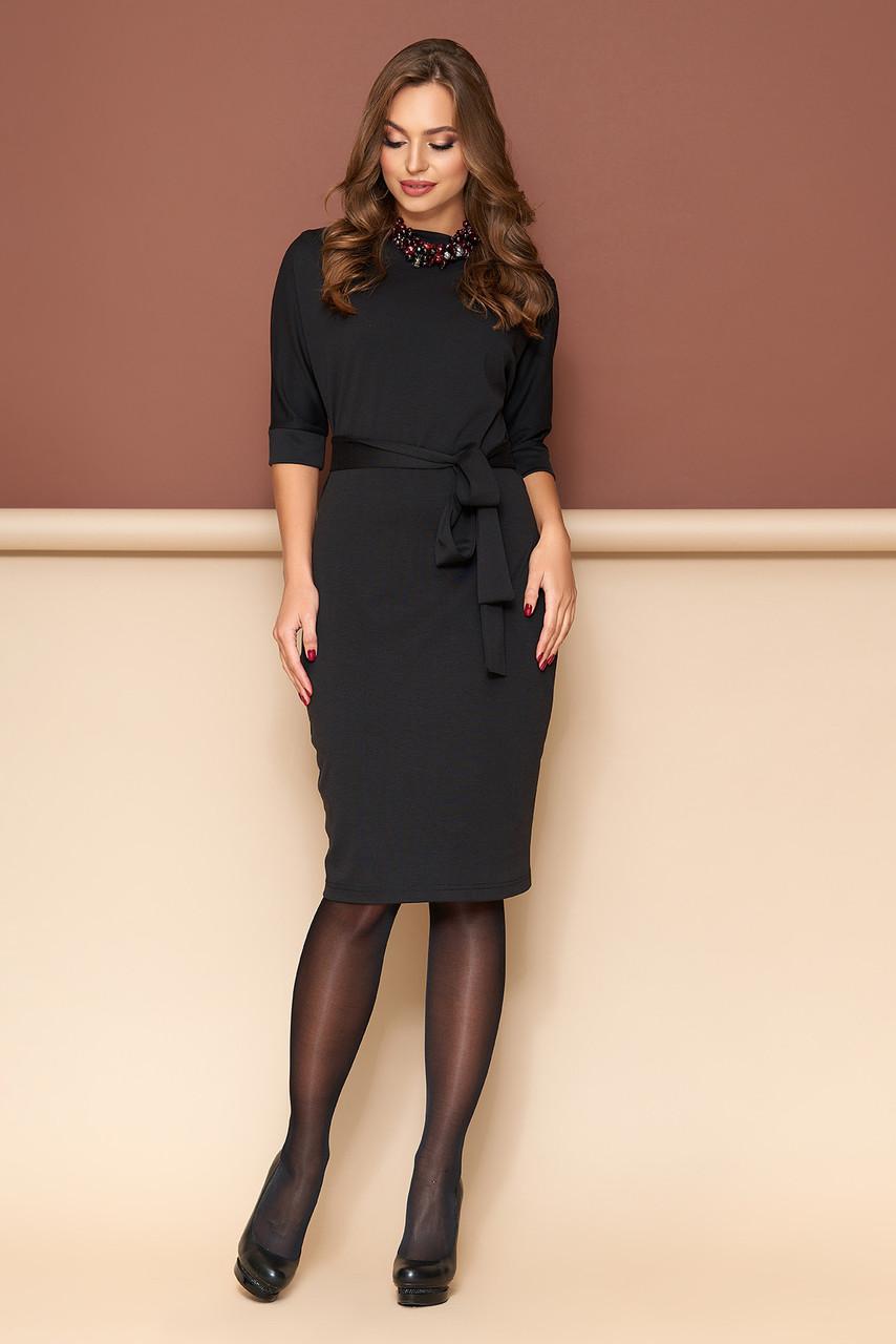 56a406d5aa94 Трикотажное платье на каждый день черное - Интернет-магазин одежды ALLSTUFF  в Киеве