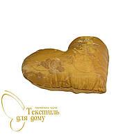 Подушка декоративная Сердце, версаль, желтый