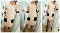 Платье женское свободного покроя с накладными карманами  в расцветках  3008, фото 1