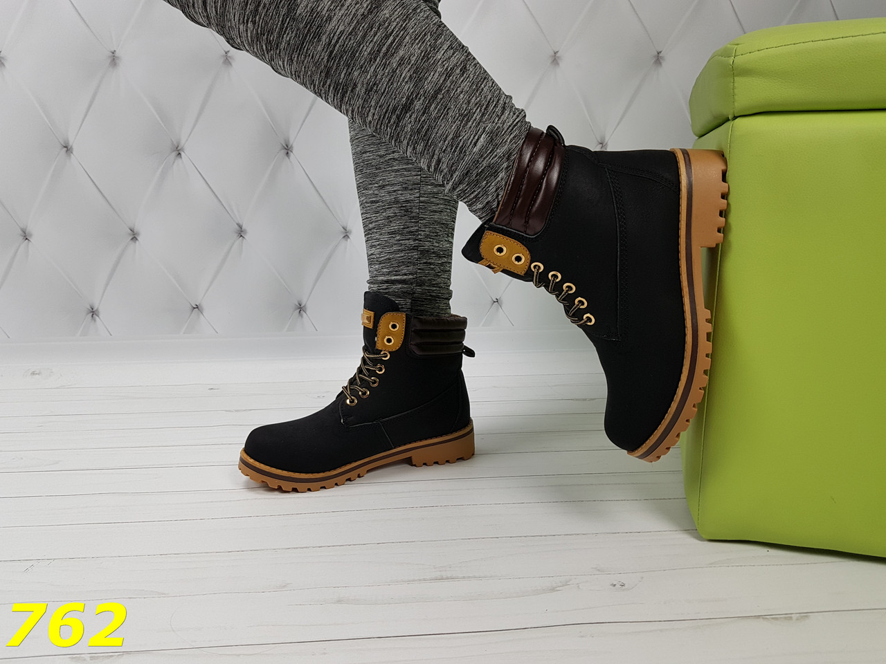 Ботинки тимбер черные зима очень теплые