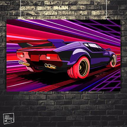 Постер Авто, Ретровейв, Retrowave (60x96см), фото 2
