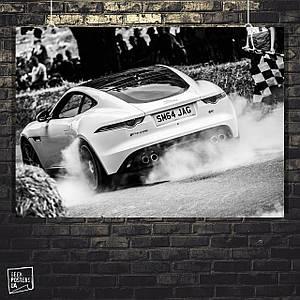 Постер Авто, гонка, дорога, клетчатый флаг. Размер 60x42см (A2). Глянцевая бумага