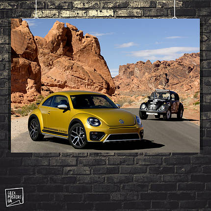 Постер Авто, Retro car (Volkswagen Mountains), ретро авто. Размер 60x42см (A2). Глянцевая бумага, фото 2