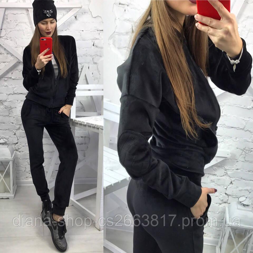 e01c39f3 Женский велюровый костюм черного цвета на дайвинге без капюшона , цена 970  грн., купить в Харькове — Prom.ua (ID#798630910)