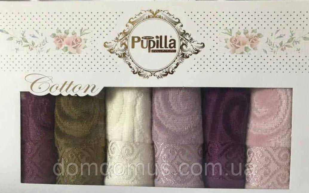 Набор велюровых полотенец в подарочной упаковке 30*50 см (100 % хлопок) Puppila, Турция 7019