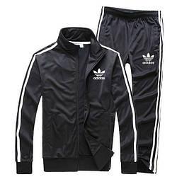 Чорний чоловічий спортивний костюм Adidas з лампасами (Адідас)