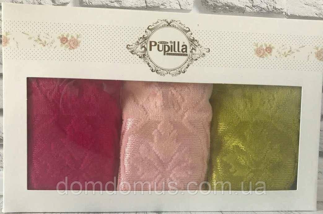 Набор велюровых полотенец в подарочной упаковке 30*50 см (100 % хлопок) Puppila, Турция 7026