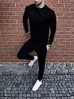Трикотажный спортивный костюм, чоловічий спортивний черный костюм