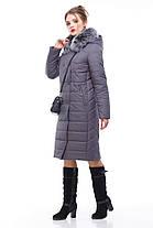 Зимнее пальто цвет антрацит с песцом большие и маленькие размеры от 48 до 60, фото 3