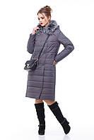Зимнее пальто цвет антрацит с песцом большие и маленькие размеры от 48 до 60