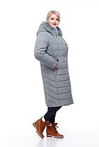 Зимнее пальто цвет фисташкас песцом большие размеры от 48 до 60, фото 2