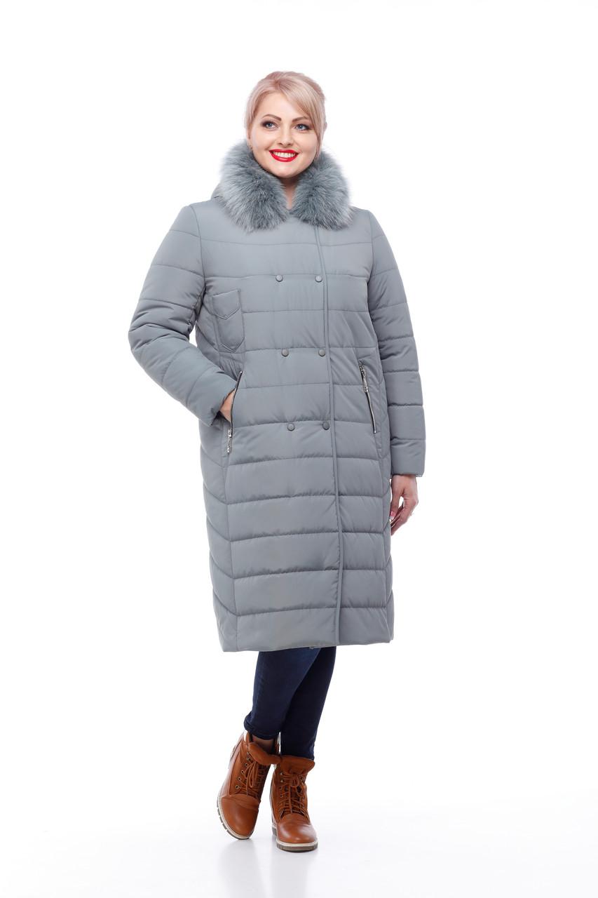 Зимнее пальто цвет фисташкас песцом большие размеры от 48 до 60