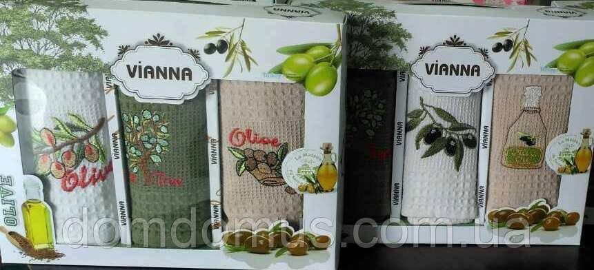 """Набор кухонных полотенец в подарочной упаковке """"Олива"""" 45*65 см Vianna 3 шт., Турция"""