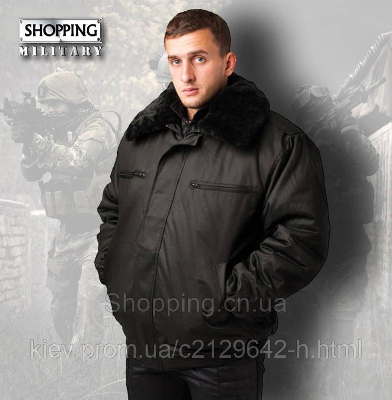 e32cc93fb137 Куртка зимняя Охрана черная на флисе с меховым воротником купить по лучшей  цене в ...