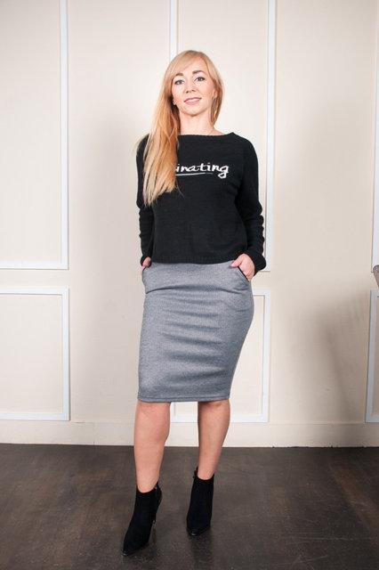 Молодежная юбка серая с рисунком 44-54