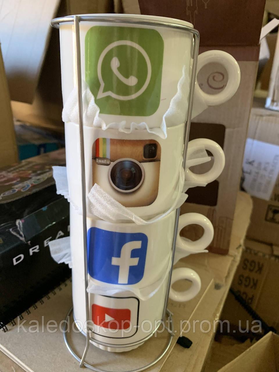 Набор чашек керамических социальные сети 4шт.