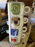 Набор чашек керамических социальные сети 4шт. , фото 1