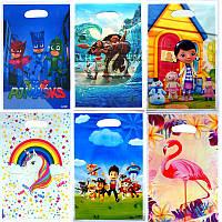 """Набір: пакети подарункові дитячі для подарунків """"Герої мультфільмів"""" 25х16 (10шт/уп)-"""