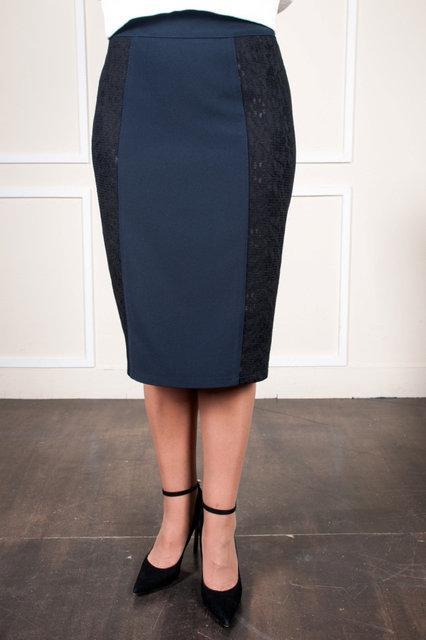 Женская юбка серая со вставкой  52-58