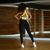 Спортивный костюм для фитнеса (комбинезон) 482, черный
