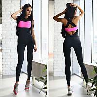 Спортивный костюм для фитнеса (комбинезон) 476, черный