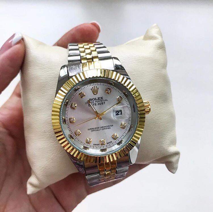 Металеві годинник Rolex Date Just Gold, жіночий годинник ролекс, жіночий срібний годинник