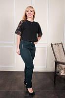 Стильные классические женские брюки зеленого цвета на байке. Размеры:  44, 46, 48, 50, 52, 54, 56, 58, фото 1
