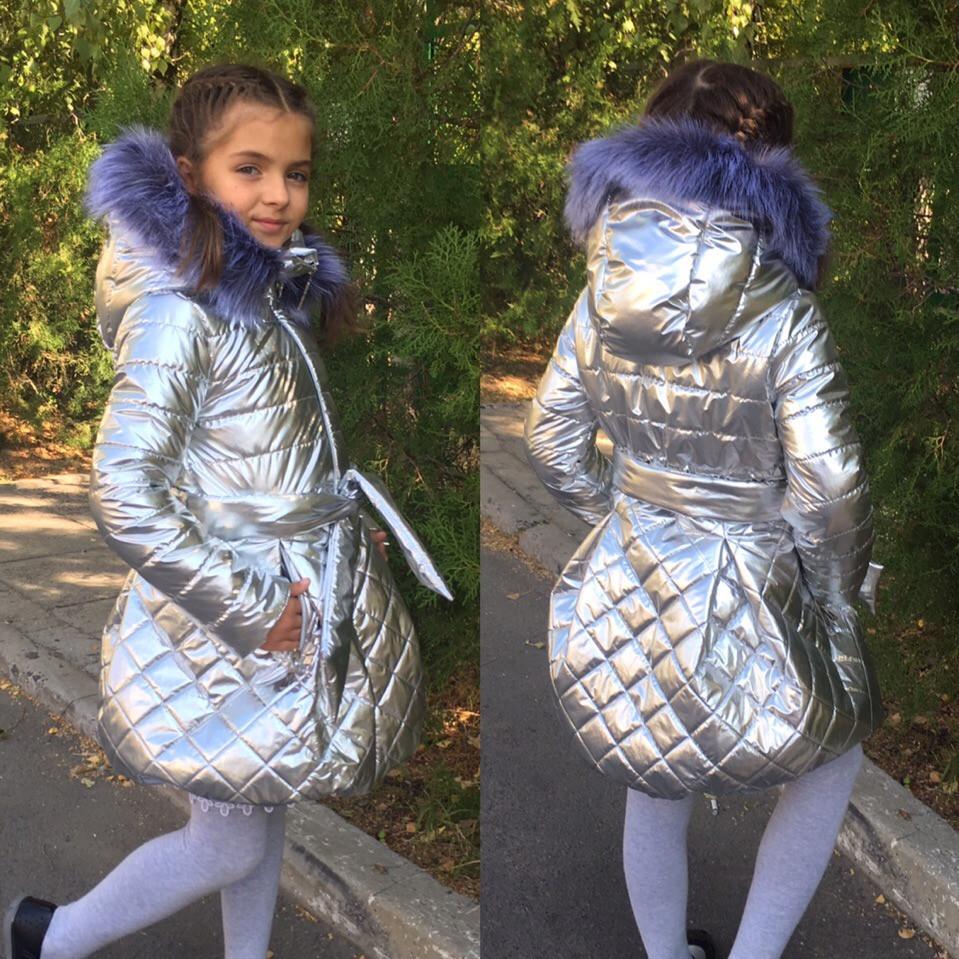 Пальто для дівчинки золото,срібло, рожевий