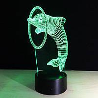 3D ночник  Дельфин с обручем, фото 1