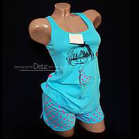 Пижама, комплект для дома Lemila 680. Шорты + майка. 100% х/б. Размер S