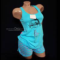 Пижама, комплект для дома Lemila 680. Шорты + майка. 100% х/б. Размер М