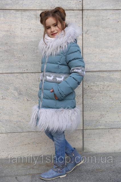 f4a13d220dc Зимнее детское пальто на девочку с отделкой из меха ламы .  продажа ...