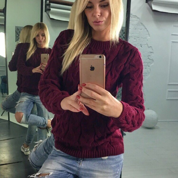 Теплый вязаный свитер IB-3127