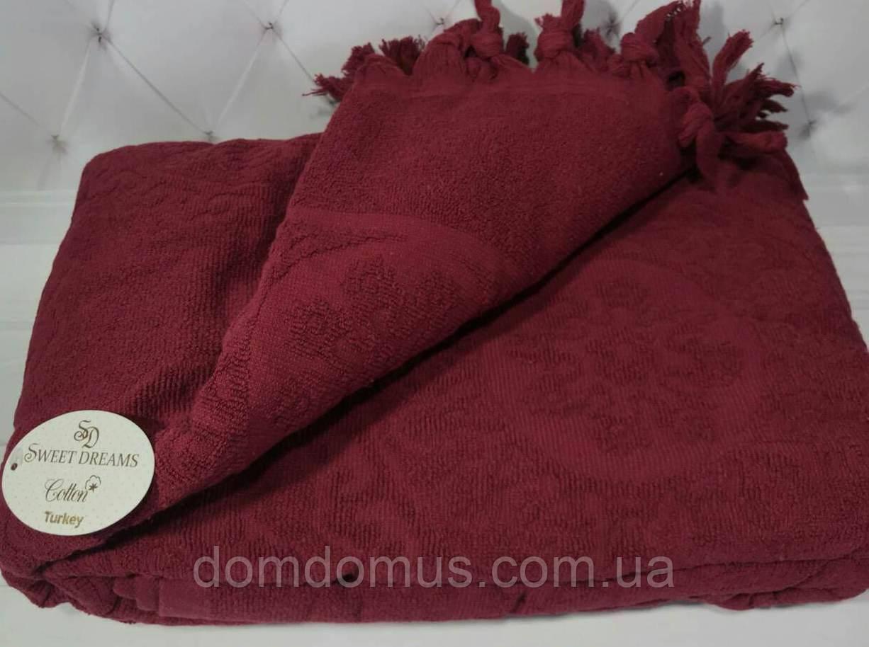Простынь жаккардовая SWEET DREAMS, бордовый 200*220 см, Турция