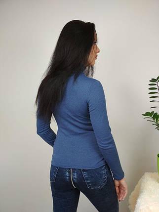 Женская утепленная водолазка на осень цвет темный-джинс, женские водолазки с флисом оптом от производителя, фото 2