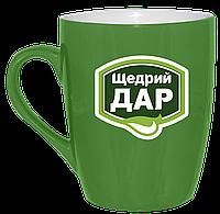 Нанесение логотипа на зеленую кружку