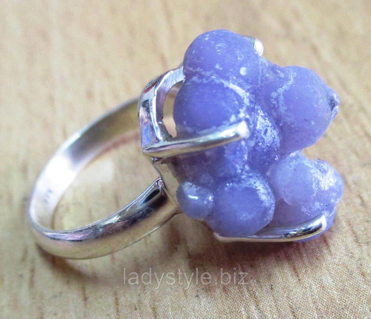 """Серебряное кольцо с виноградным агатом  """"Пузырьки"""", размер 16.8   от студии LadyStyle.Biz"""