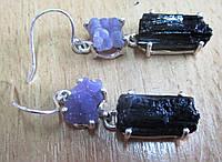 """Серебряные серьги с виноградным агатом и шерлом  """"Легенда"""",    от студии LadyStyle.Biz, фото 1"""