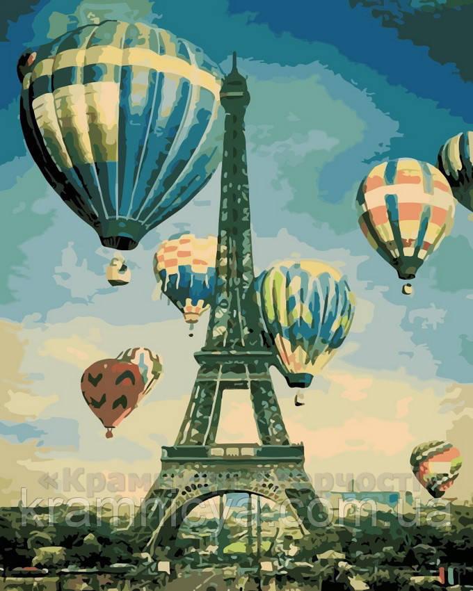 Картина по номерам 40x50 см, Воздушные шары над Парижем