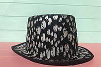 Карнавальная шляпа цилиндр с черепами