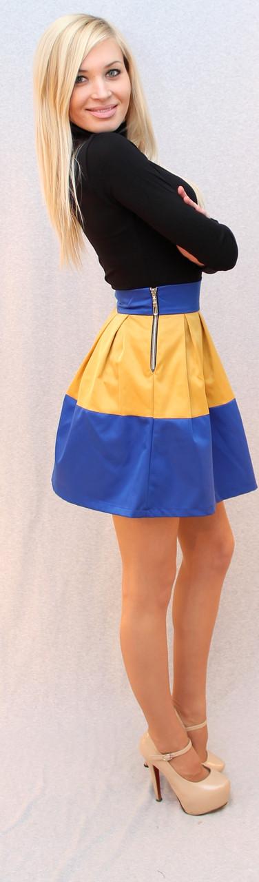 Юбка колокол жёлто-голубая